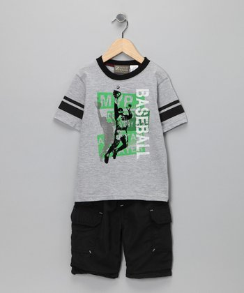 Gray 'Baseball' Tee & Shorts - Toddler