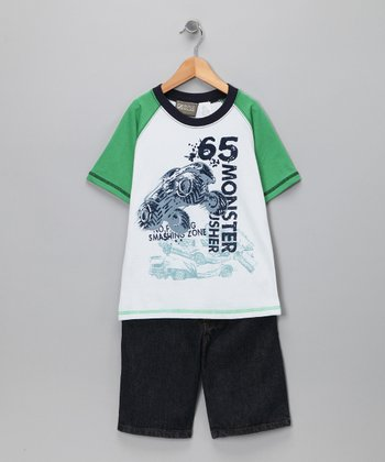 Green & White Tee & Shorts - Toddler