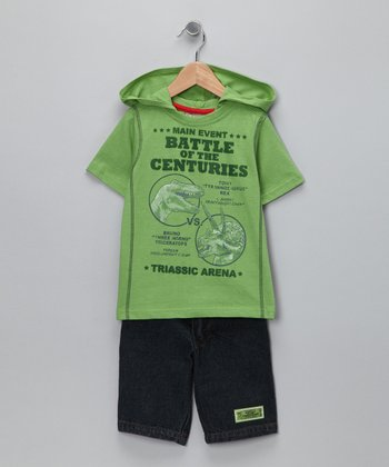 Green 'Battle of the Centuries' Hooded Tee & Shorts - Boys