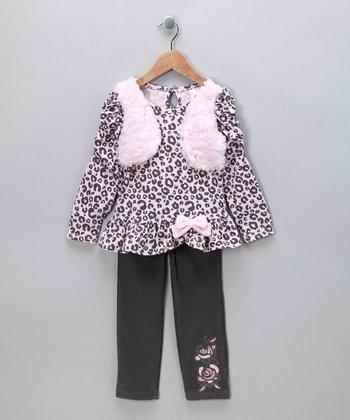Gray Cheetah Tunic & Pants - Toddler