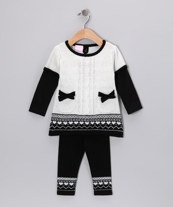 White & Black Fair Isle Tunic & Leggings - Infant
