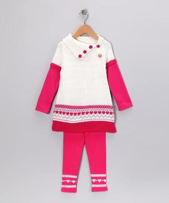 White & Pink Fair Isle Button Tunic & Leggings - Infant