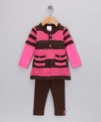 Brown & Pink Stripe Tunic & Leggings - Infant