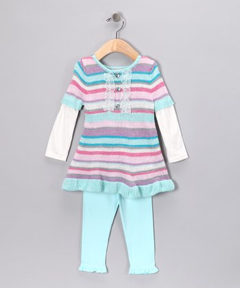 Aqua & Pink Stripe Tunic & Leggings - Infant