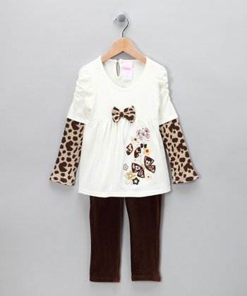 Beige Butterfly Layered Tunic & Leggings - Toddler