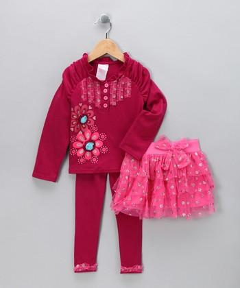 Red Sparkle Flower Skirt Set - Infant & Toddler