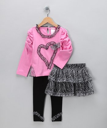 Pink Zebra Skirt Set - Infant