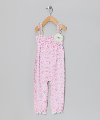 White & Pink Floral Playsuit - Infant