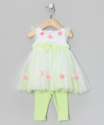 Light Green Rose Dress & Leggings