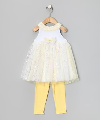 Yellow Sequin Dress & Leggings - Infant