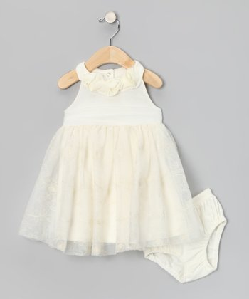 Off-White Floral Dress & Diaper Cover - Infant