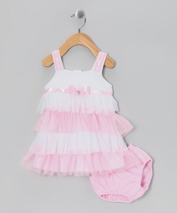 Pink Tiered Ruffle Dress & Diaper Cover - Infant