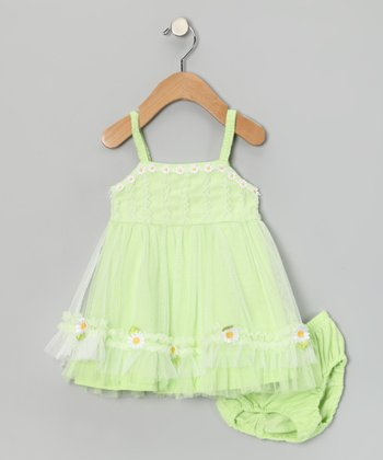 Green Daisy Dress & Diaper Cover - Infant