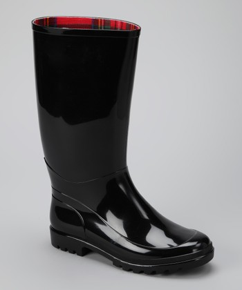 Black Signature Wide-Calf Rain Boot