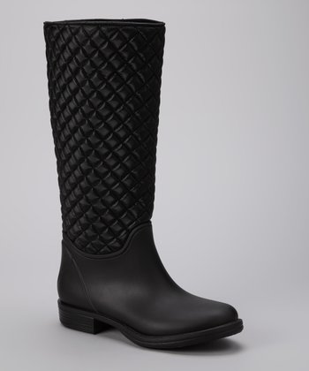 Black Basic Quilted Tall Rain Boot
