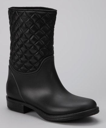 Black Basic Quilted Short Rain Boot