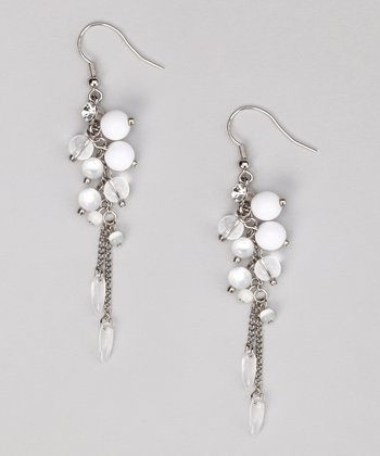 White & Silver Chain Earrings