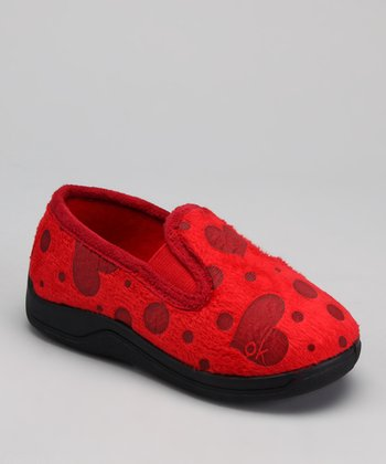 Red Polka Dot Heart Slipper - Kids