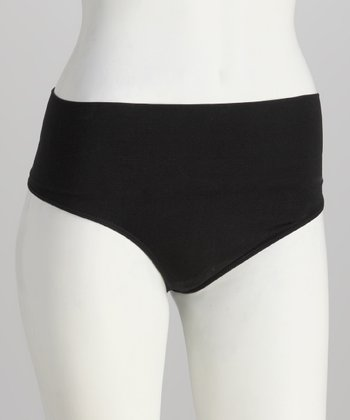Black Seamless Low-Rise Control Shaper Thong - Women