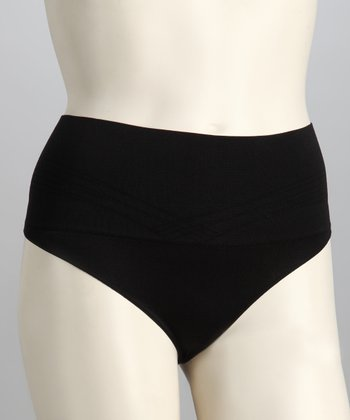 Black Seamless Low-Rise Shaper Thong - Women