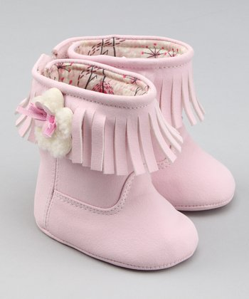 Pink Flower Lil Fringe Boot