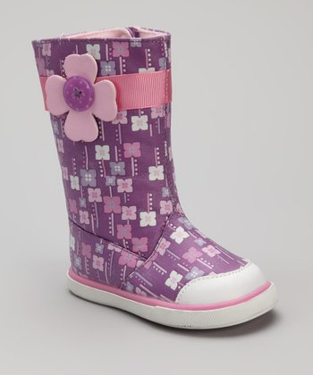 Pink & Purple Orchid Rain Boot