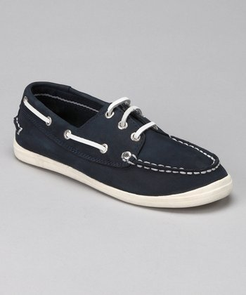 Navy Little River Boat Shoe - Kids
