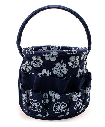 Navy Blue Tropical Medium Round Stuff Bucket