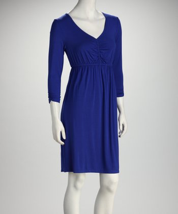 Royal Blue Three-Quarter Sleeve Empire-Waist Dress