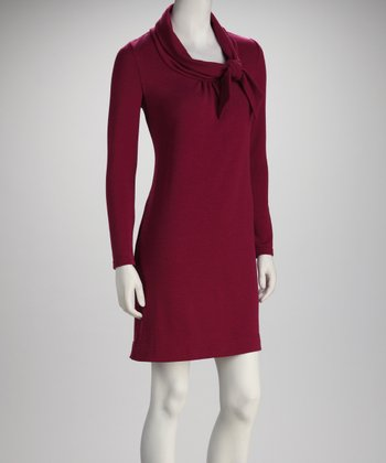 Wine Tie Cowl Neck Long-Sleeve Dress