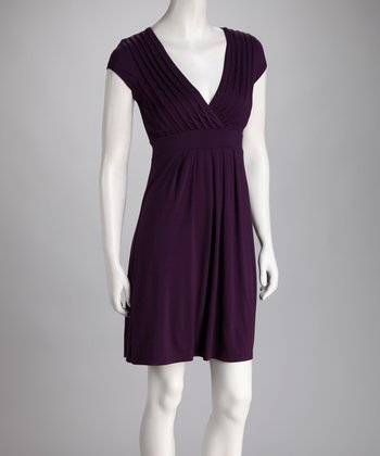 Purple Pleated Surplice Dress