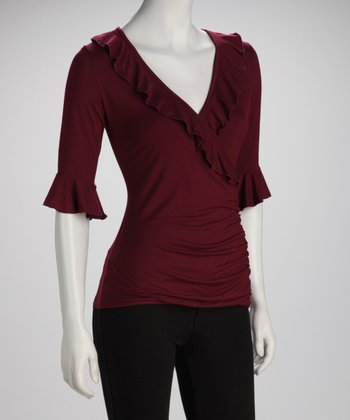 Maroon Ruffle Surplice Top