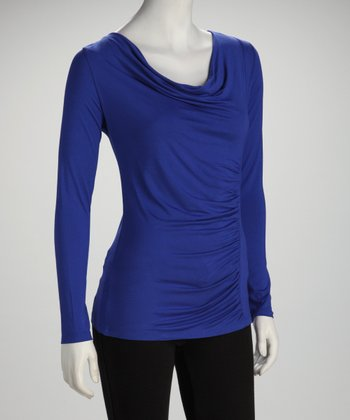 Royal Blue Ruched Cowl Neck Top