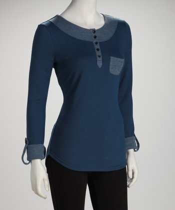 Blue Contrast Henley Top