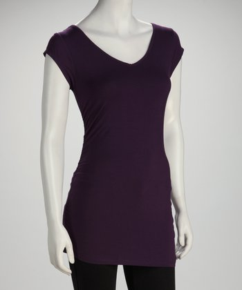 Purple Cap-Sleeve V-Neck Top