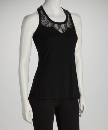 Black Lace Panel Racerback Tank
