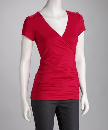Rose Ruched Surplice Tee