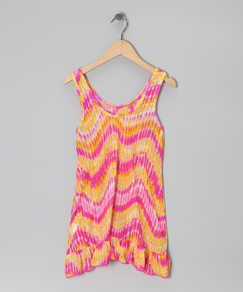 Pink Heat Wave Mesh Cover-Up