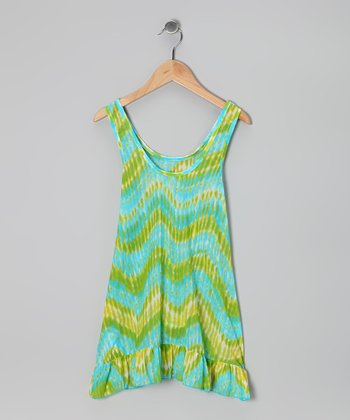 Turquoise Heat Wave Mesh Cover-Up