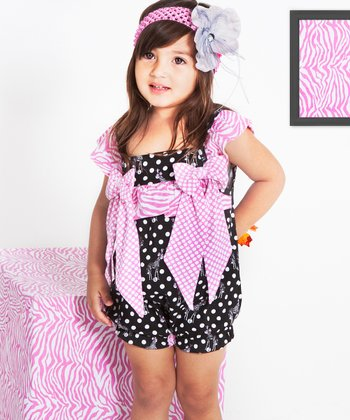 Black & Pink Giraffe Bubble Romper - Infant & Toddler