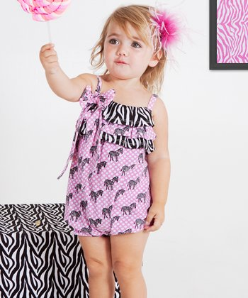 Pink & Black Zebra Bubble Romper - Infant & Toddler