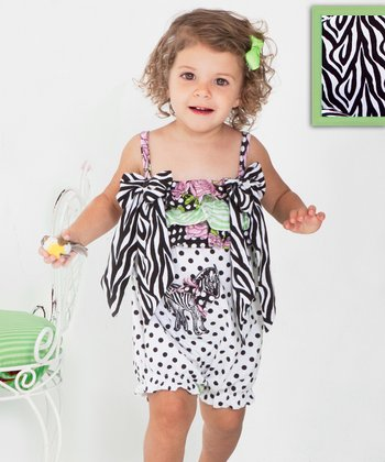 Black & White Zebra Bow Ruffle Bubble Romper - Infant & Toddler