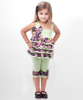 Green Zebra Ruffle Tunic & Leggings - Infant