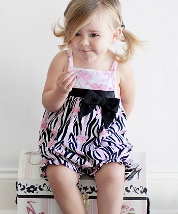 Pink & Black Zebra Bubble Romper - Infant