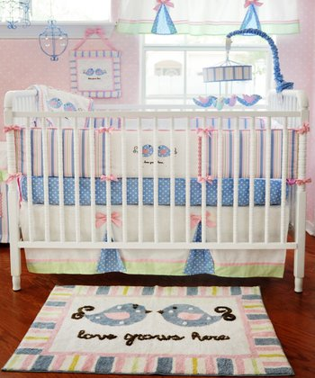Pink & Blue 'Love Grows Here' Bedding Set