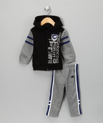 Gray & Blue Zip-Up Hoodie & Track Pants - Toddler & Boys