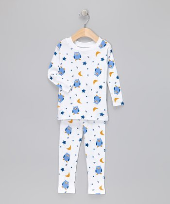 White Night Owl Organic Pajama Set - Infant