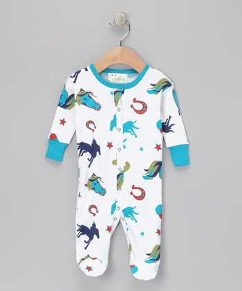 Blue Wild Stallion Organic Footie - Infant