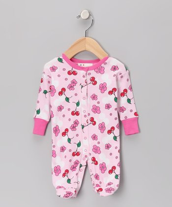 Pink Cherry Blossom Organic Footie - Infant