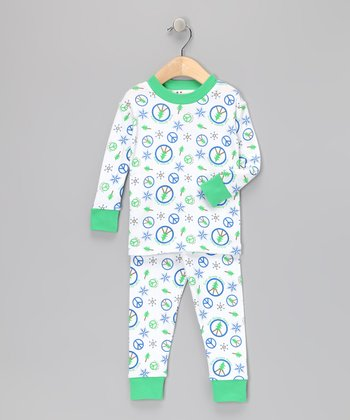 Blue Evergreen Peace Organic Pajama Set - Infant